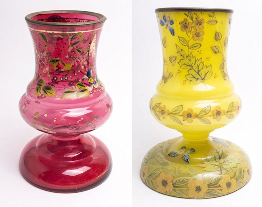Lot of 2 19th century Bohemian Glass Vases Middle East