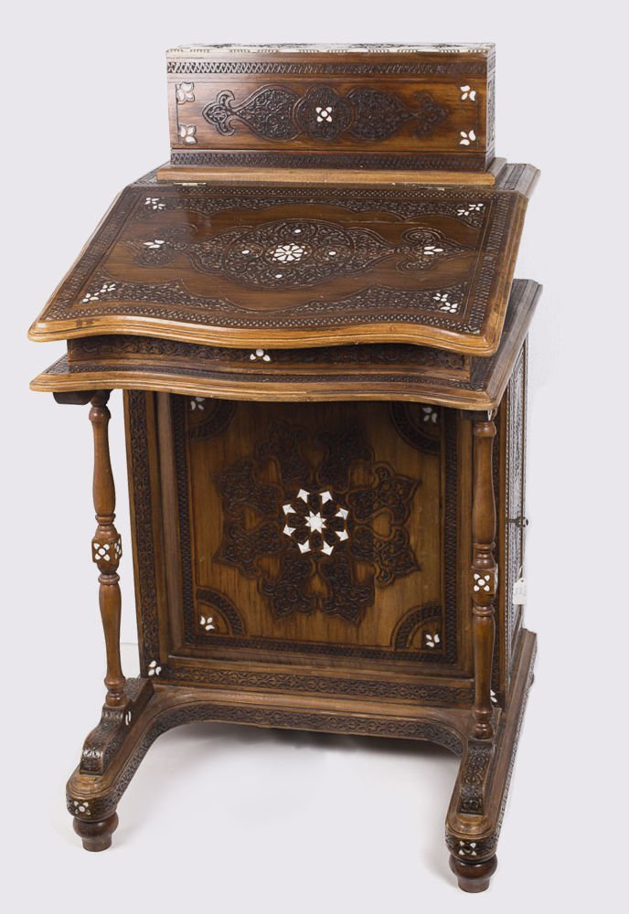 SYRIAN, Moorish, Middle Eastern INLAID HARDWOOD Desk.