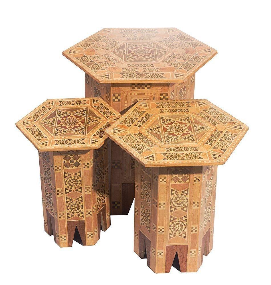 A Set Of Three SYRIAN Moorish octagonal Wood Tables