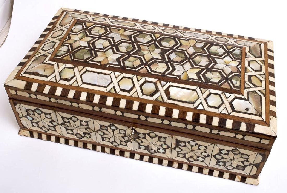 19th Century Ottoman Mother Of Pearls Inlaid Wood Box.