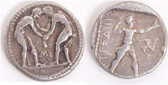 Ancient Greek PAMPHYLIA Aspendos Wrestlers coin