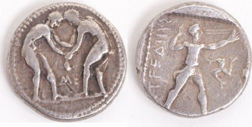 Ancient Greek PAMPHYLIA, Aspendos. Wrestlers coin