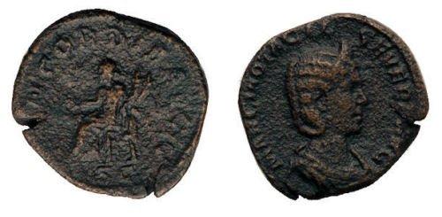 Ancient Roman Otacila Severa Æ Sestertius. AD 248.Coin
