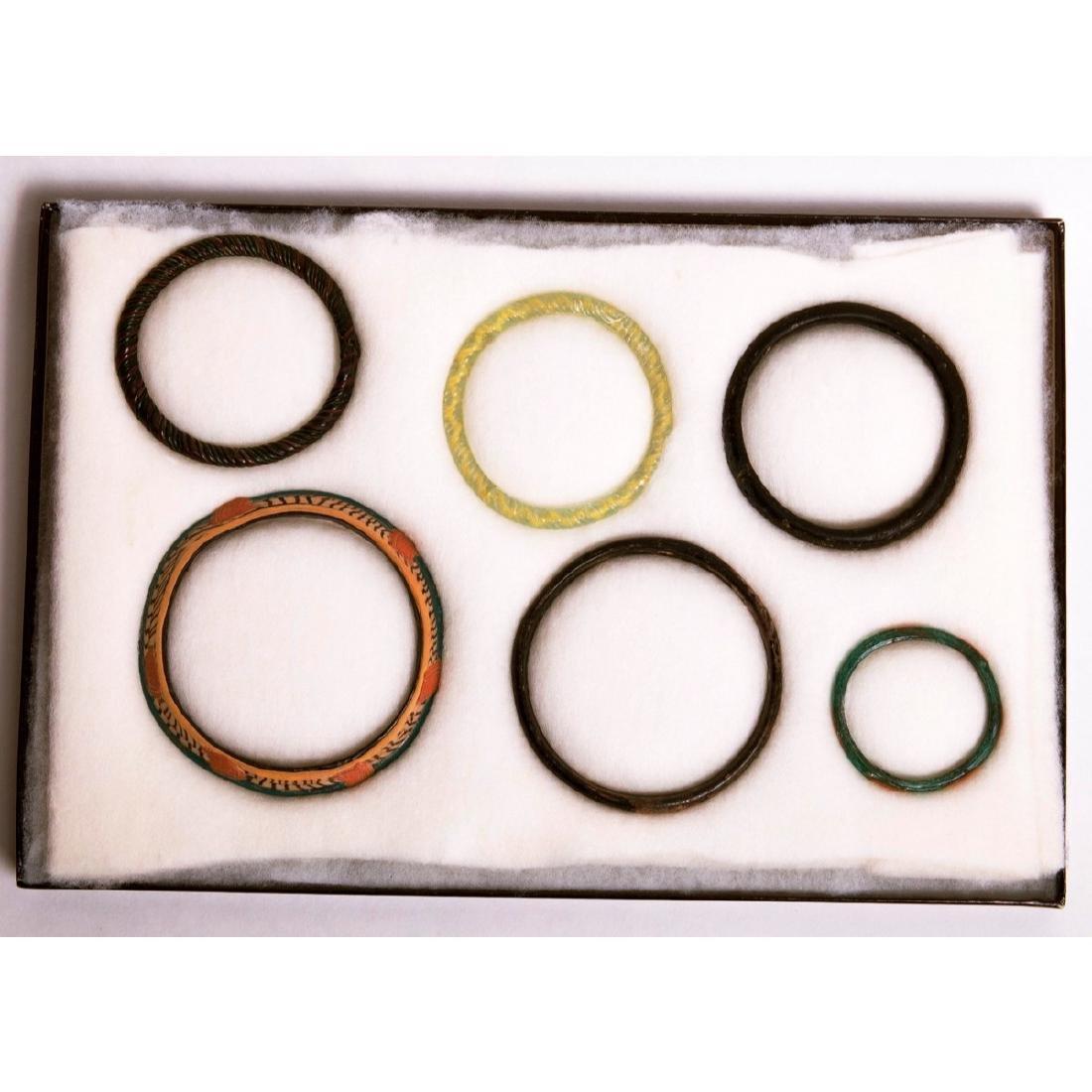 Lot of 6 Ancient Roman Glass Bracelets c.2nd cen AD
