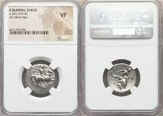 Ancient Greek Silver Coin CALABRIA Tarentum BoyDolphin