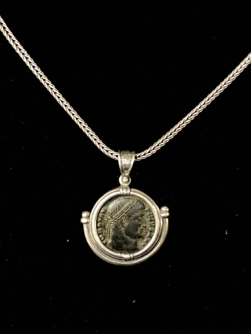 Ancient Roman Bronze coin set in Silver Necklace