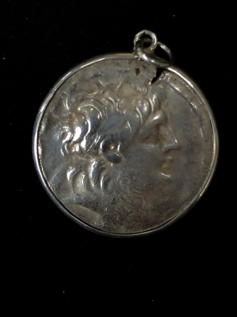 Ancient Greek Silver Coin Antiochus VII set in Pendant