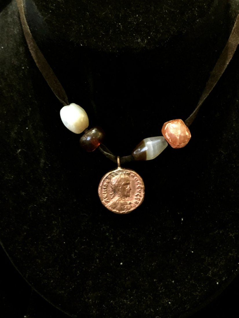 Ancient Roman Bronze coin Set in Necklace with Beads - 3