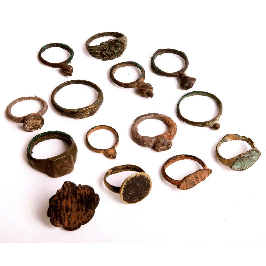 A Collection of 14 Ancient Roman Bronze Rings c.1st-4th