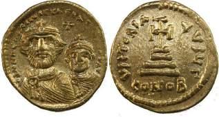 Ancient Byzantine Gold Coin Heraclius Constantine