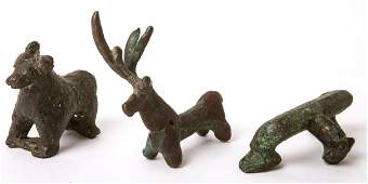 Lot of 3 Ancient Near Eastern Bronze Animals c1st mill