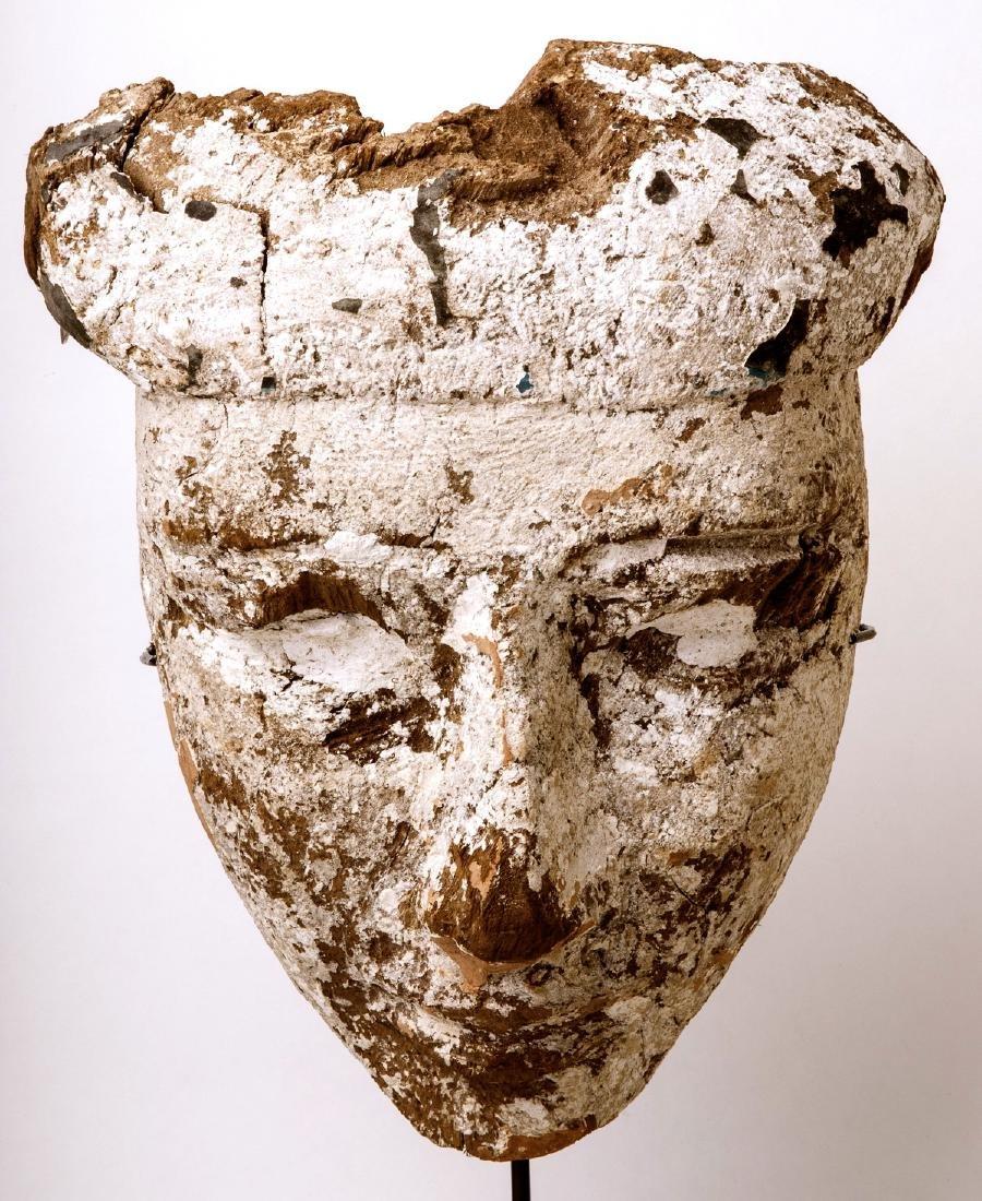 Large Ancient Egyptian Mummy Wood Mask c.664-332 BC.