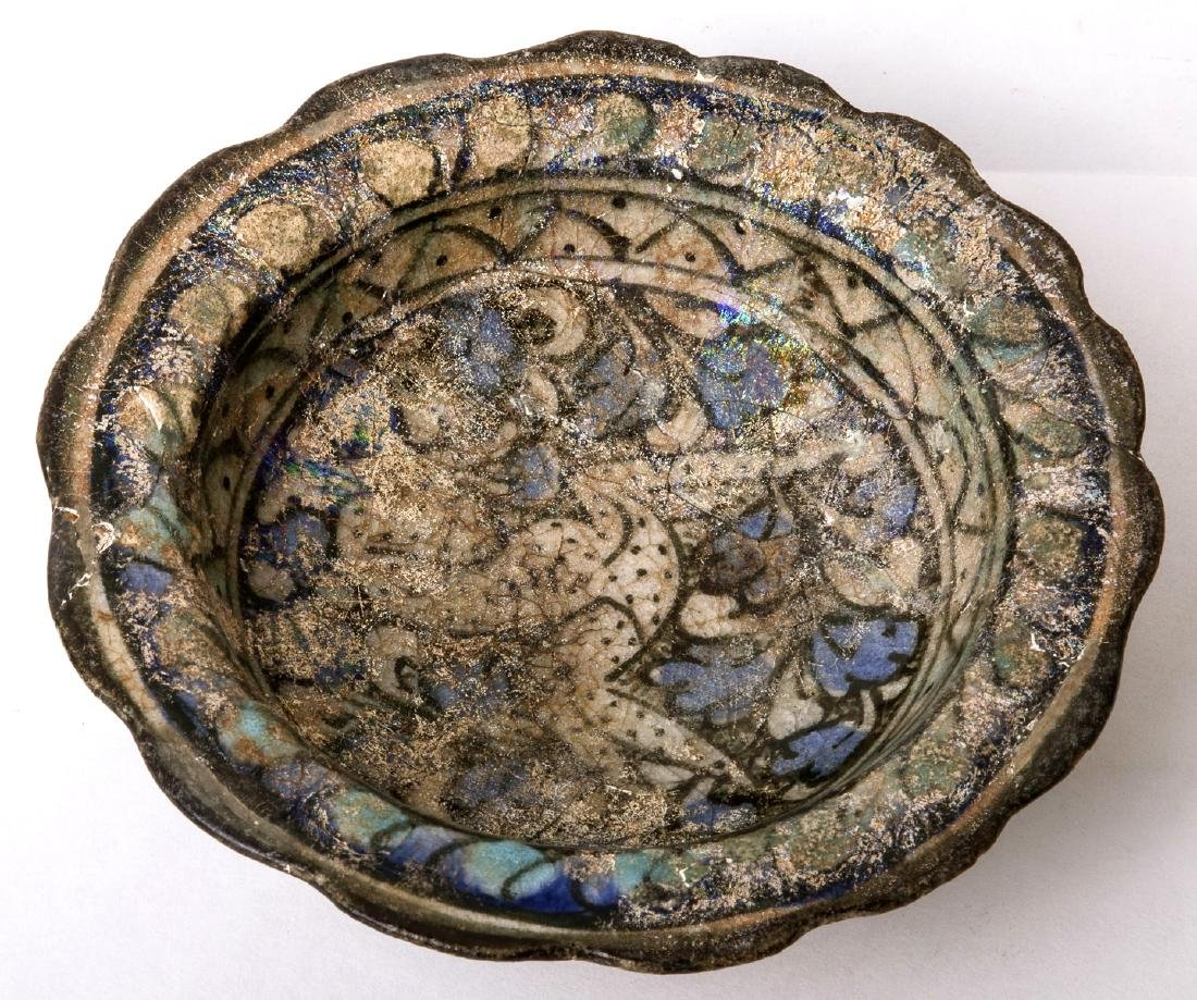 Ancient PERSIAN Ceramic FOOTED Bowl With Rabbit