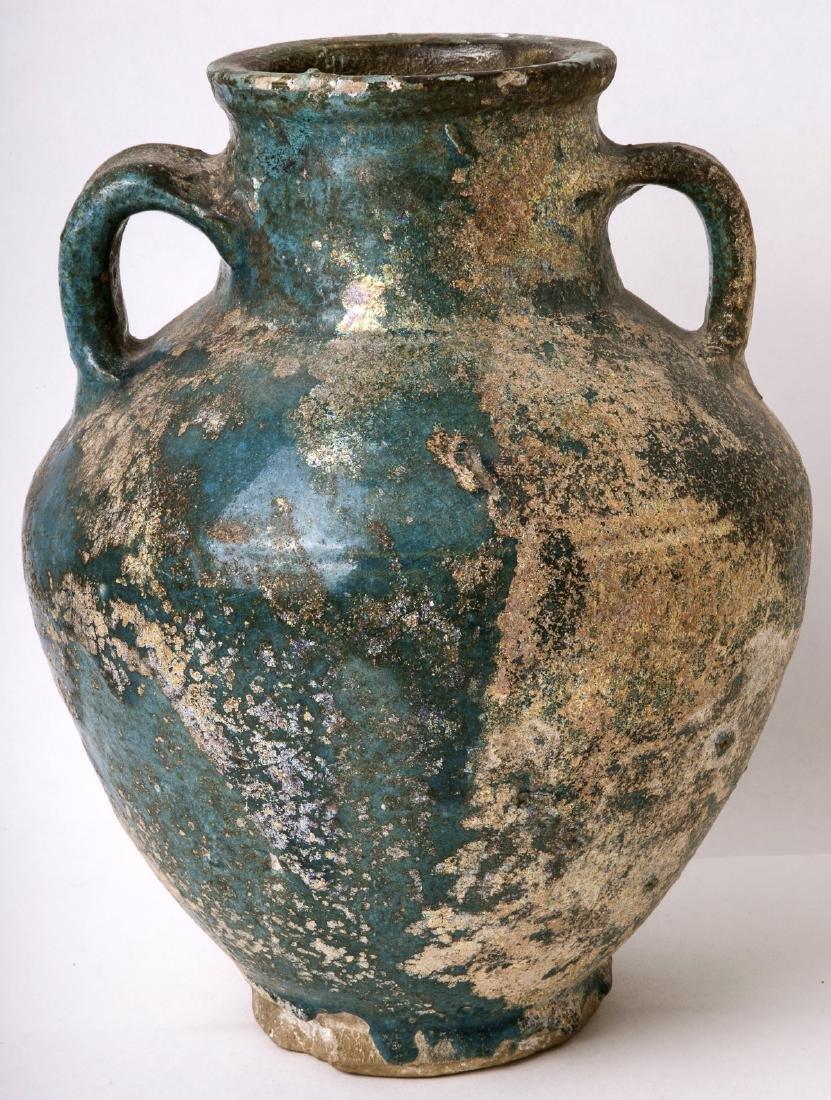 Ancient Persian Kashan Baluster Shape Ceramic Vase Ca.