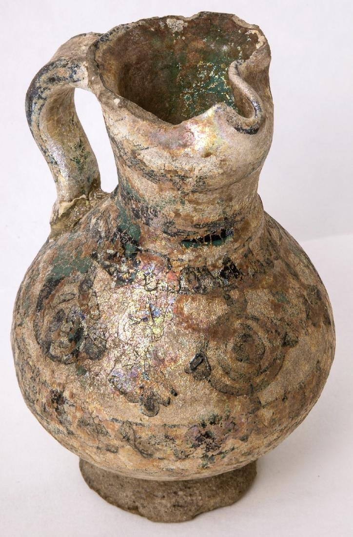 Ancient PERSIAN Ceramic FOOTED JUG With iridescent - 2