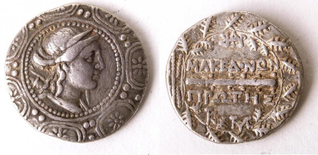 Ancient MACEDON, Under Roman Rule. Artemis Silver coin