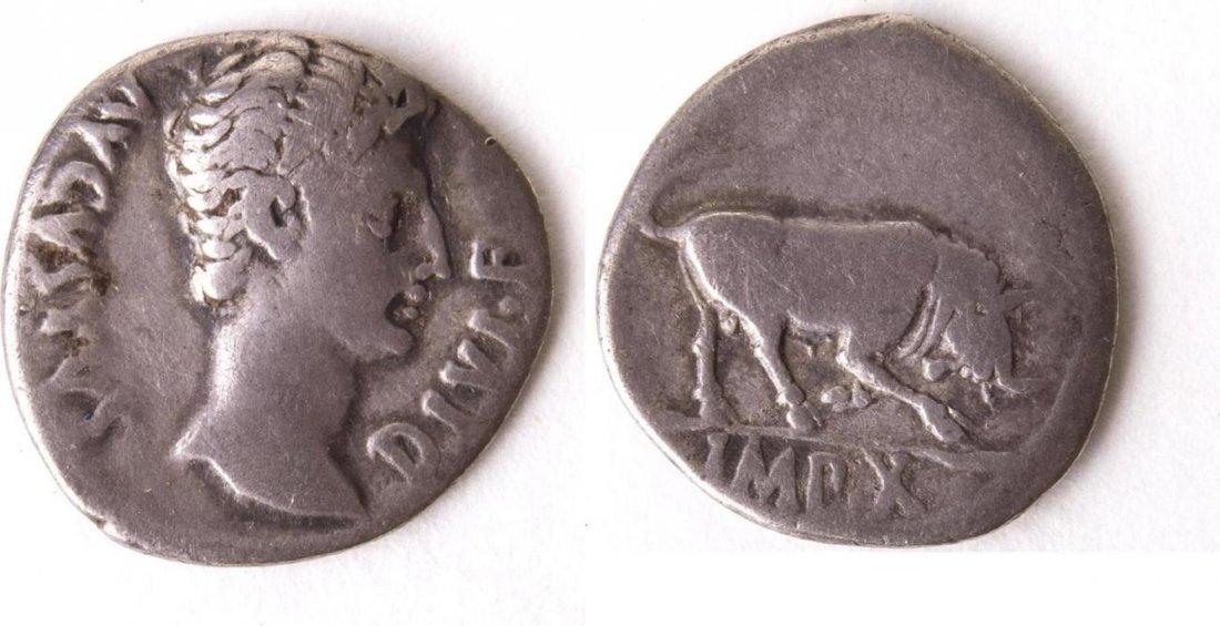 Ancient Roman Silver Denarius Augustus. 27 BC-AD 14. AR