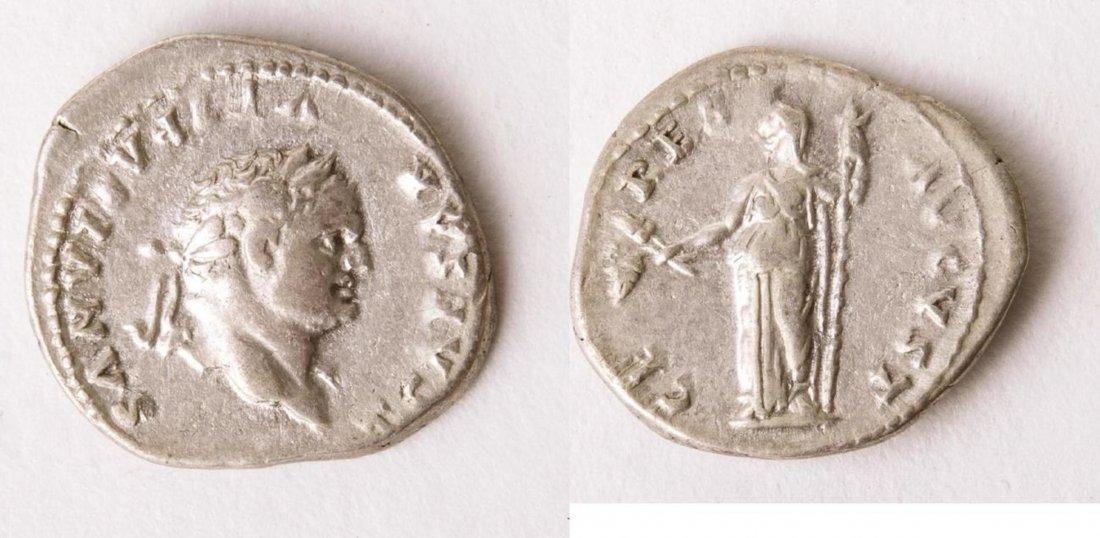Ancient Roman Silver Denarius TITUS. 79-81 AD. AR Denar
