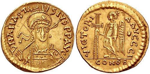 Anastasius I. 491-518. AV Solidus (20.3mm, 4.42 g, 5h).