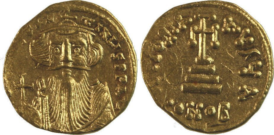 Ancient Byzantine Constans II. 641-668. gold Solidus