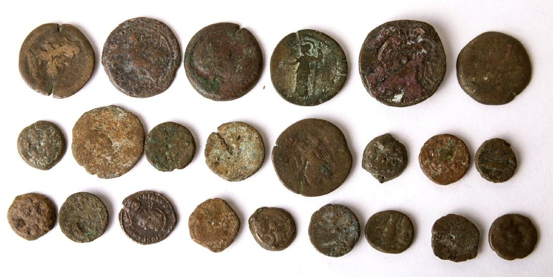 Lot of 23 Ancient Greek and Roman Bronze Coins c.2nd ce