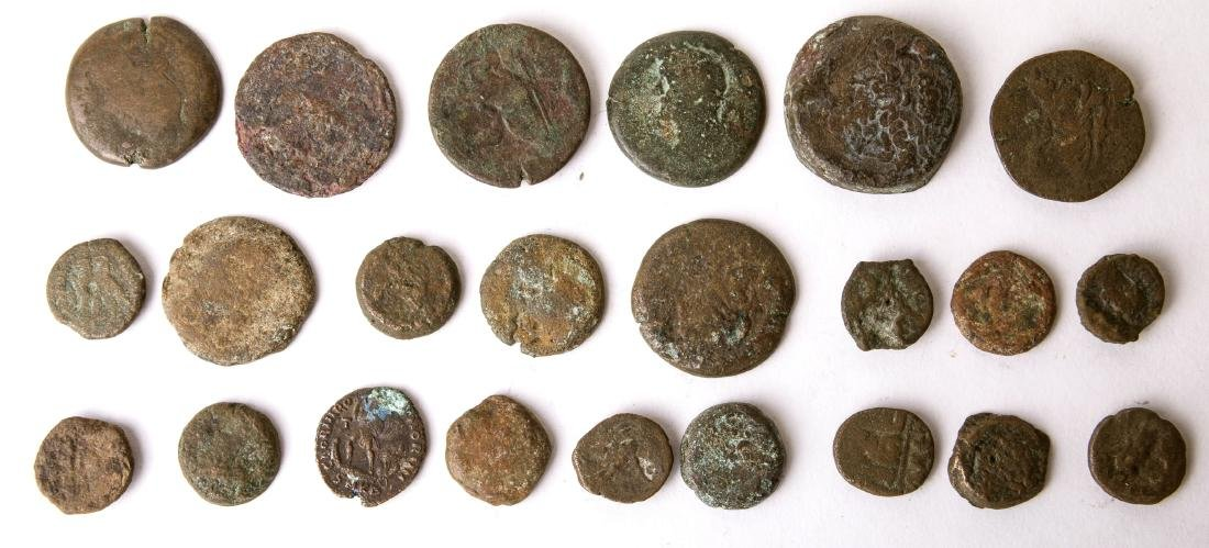 Lot of 23 Ancient Greek and Roman Bronze Coins c.2nd ce - 2