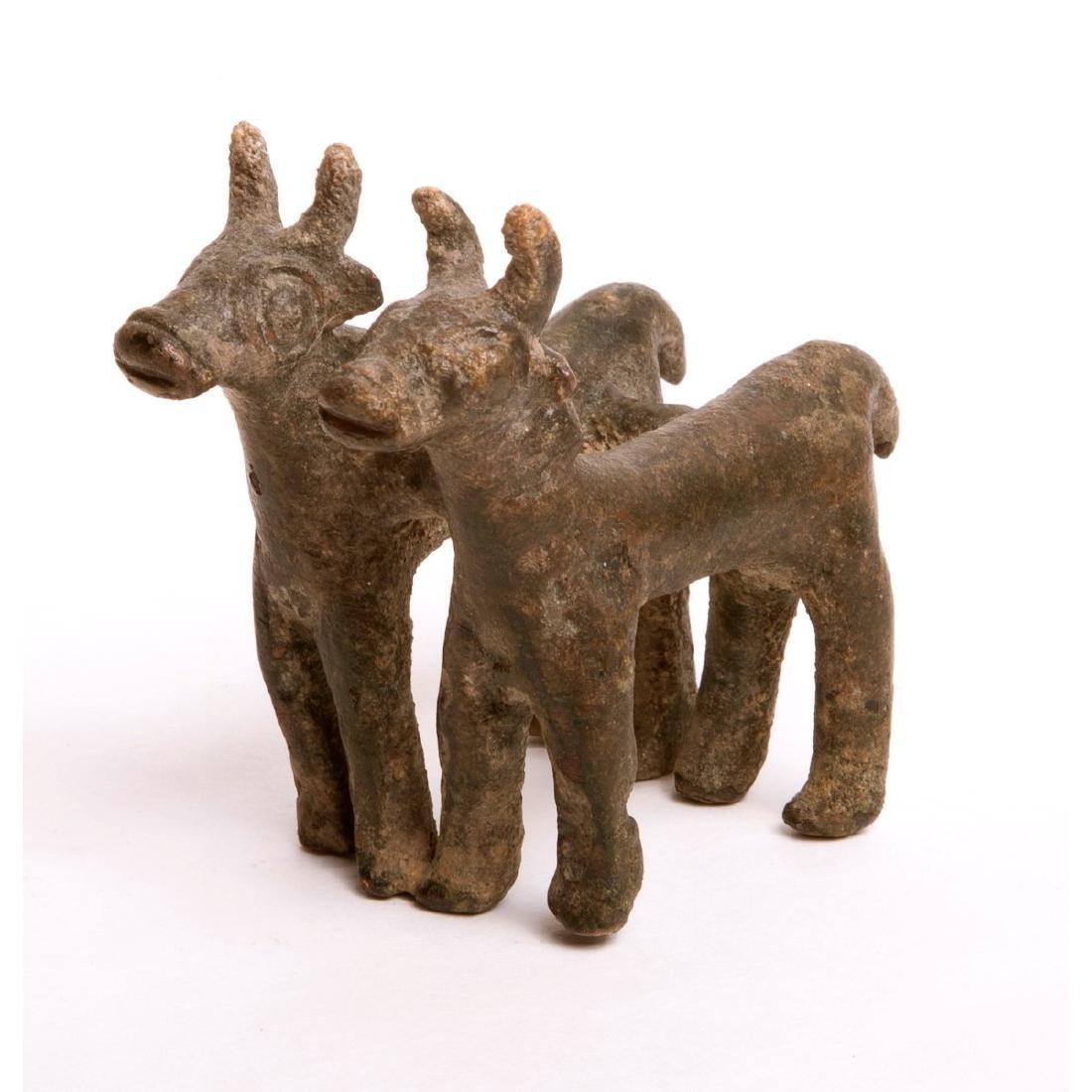 Ancient Luristan Bronze Double Bull Chariot c.1000 BC.