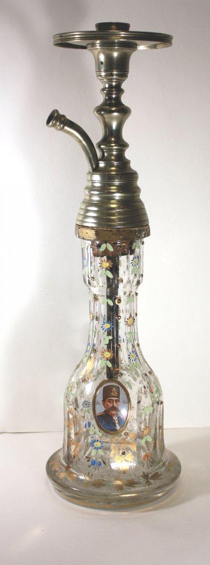 19th cent Persian Bohemian Glass Hookah Base - 4