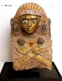 Ancient Egyptian Gilt Cartonnage Sarcophagus Mask,