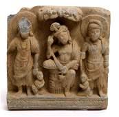 Gandharan Schist Relief of Siddhartha with Attendan