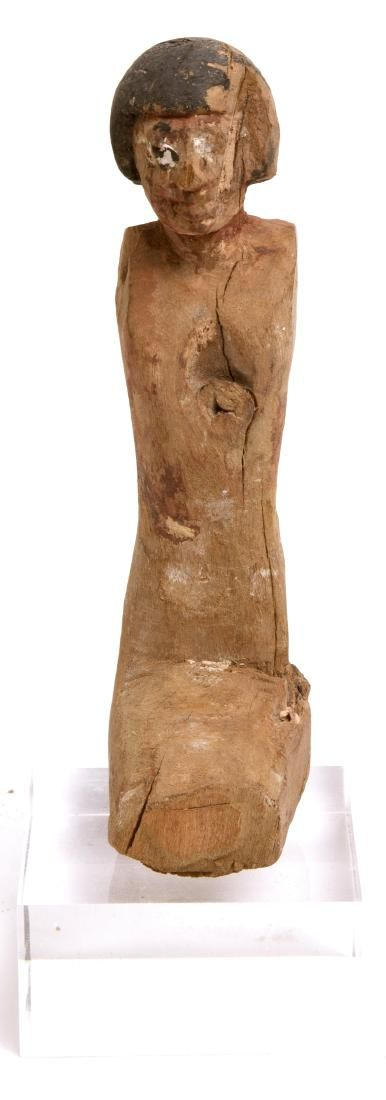 ANCIENT EGYPTIAN WOODEN BOATMAN FIGURE MIDDLE KINGDOM,