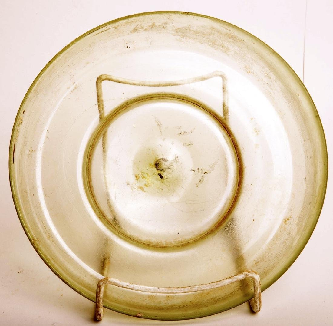 Ancient Roman Green Footed Glass Bowl Elegant free blow