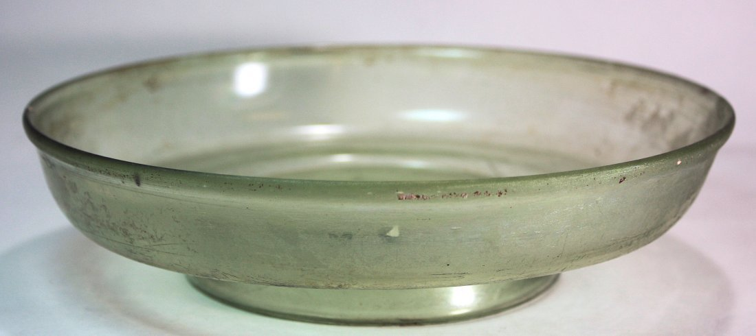 Ancient Roman Green Footed Glass Bowl Elegant free blow - 2