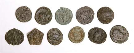 Lot of 11 Ancient roman Bronze Follis coins c.3rd centu