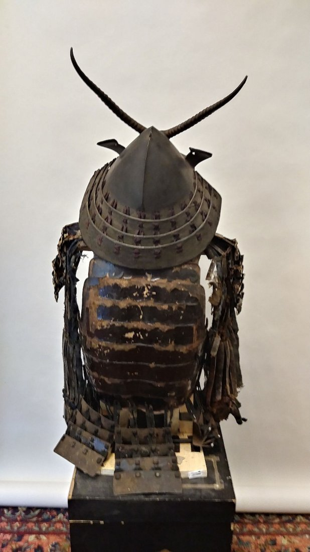Antique Japanese samurai armor set, - 4