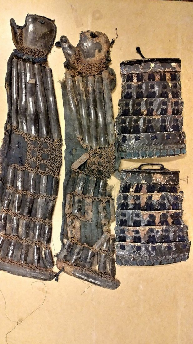 Antique Japanese samurai armor set, - 9