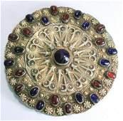 Antique Turkmenistan Gilt Silver Buckle Tribal Jewelry