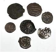 Lot of 7 Ancient Roman, Islamic, Medieval, Bronze Coins