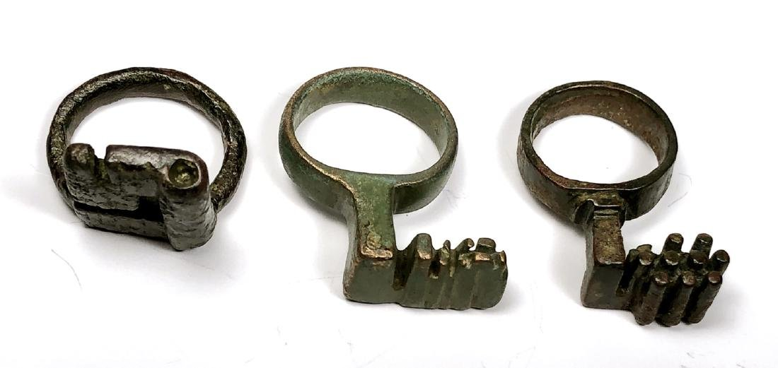 Lot of 3 Ancient Roman Bronze Key Rings c.2nd century A