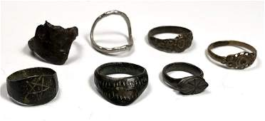 Lot of 7 Ancient Roman Silver Bronze Rings c2nd6th ce