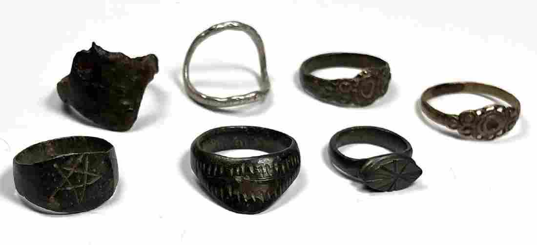 Lot of 7 Ancient Roman Silver Bronze Rings c.2nd-6th ce