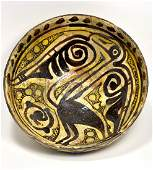 Ancient Persian Islamic Nishapur Ceramic Bowl with Bird