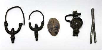 Lot of 4 Ancient Roman Bronze earrings, Fibula, C.2nd C