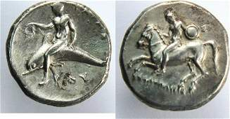CALABRIA Tarentum Ca 344340 BC AR stater Dolphin