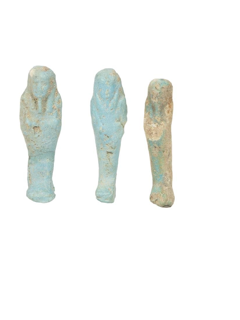 Lot of 3 Ancient EGYPTIAN Faience Ushabties Late Period