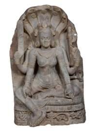 Indian Buff Sandtone Jain goddess with serpent hood