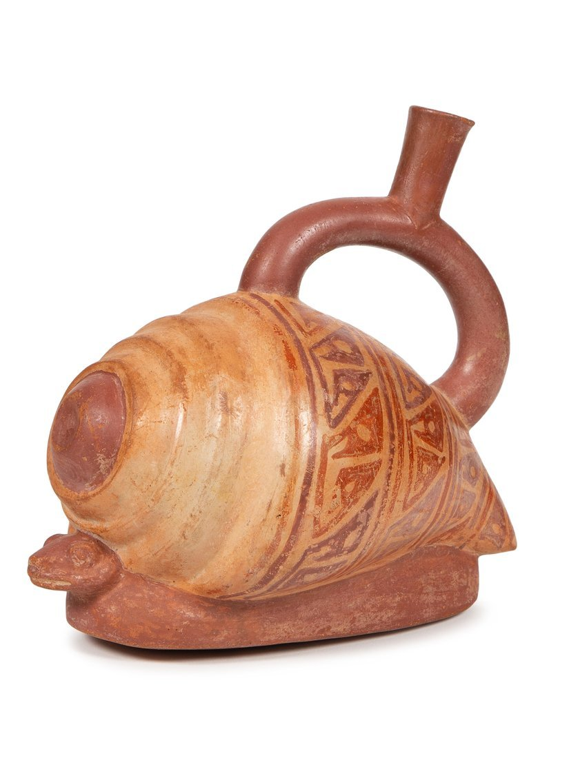 Ancient Pre Columbian Mochica, Pottery Stirrup Vessel,