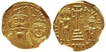 Ancient Byzantine Coin Constans II with Constantine IV