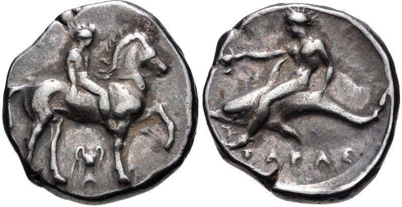Ancient CALABRIA, Tarentum. Circa 365-355 BC. AR Nomos