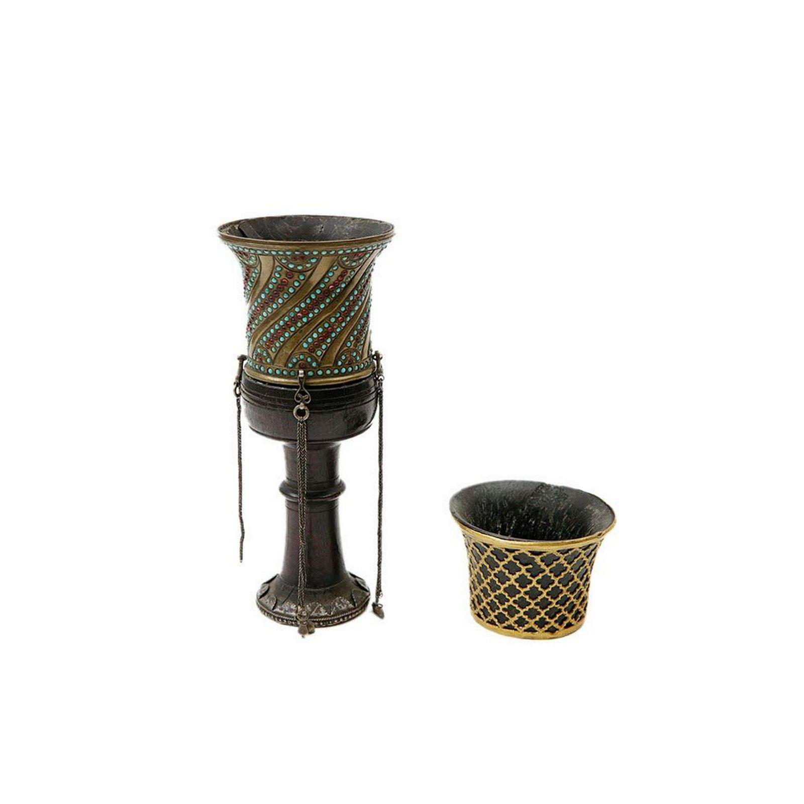 Persian Hookah Head and Gold Hookah cup c.19th century.
